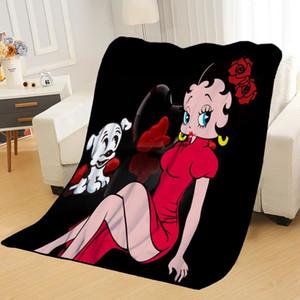Nueva llegada de Betty Boop mantillas de impresión siesta suave manta en Inicio / sofá / Oficina portátil Manta Travel Cover