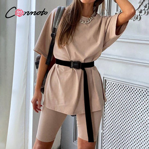 Conmoto Casual solid new women's two piece suit including belt solid color home loose sports fashion leisure suit summer 201007