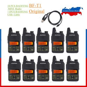 10 pcs baofeng bf-t1 walkie talkie mini portátil duas vias rádio t1 uhf 400-470mhz handheld cb presunto brinquedo rádio + 1 pcs cabo USB como presente