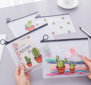 New Travel Make Up Beauty Toiletry Bags Female Makeup Organizer Large Capacity Transparent Pens Bag Women Cactus Plastic Pencil Bag Whosale