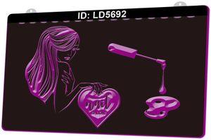 LD5692 Schönheitsnägel Kunst Hair Salon 3D Gravur LED-Lichtschild 9 Farben Großhandel Einzelhandel Freies Design