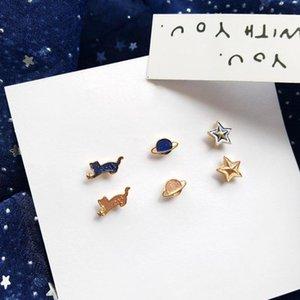 Зажим на заднем плане Мини милый кот Без пирсинговых ушей Серьги розовые голубые планеты звезда без пирсинга набор для детей девочек детей1