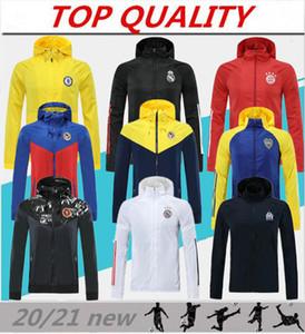 Топ 20/21 водонепроницаемая длинная молния с капюшоном 2020 2021 Camisola de futebol с капюшоном ветровка футбольная куртка для спортивной одежды дышащая