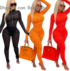 Femmes Jumersuit Hole Mode Sexy Creuse Perspective Slim Fit Fit Facture Maille Mesilleurs Mesdames Casual Pantalons à manches longues Body Chute Neuf 802-1