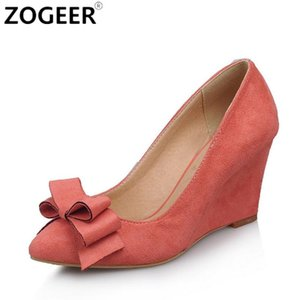 ZOGEER Casual Wedge Shoes For Women Fashion Pink Blue Wedge Women Pumps Pointed Toe Flock Bow Office Wedding Shoes Spring Autumn