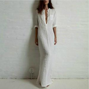 AECU femmes Robe 2020 Sexy Summer long coton-parole longueur solide robe blanche élégante à manches longues