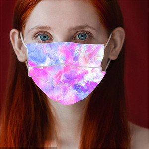 US Stock Three Layers of Tie-Dyed Disposable Face Mask Colorful Adult Protective Masks With Melt-Spray Personalized Printing Party Masks