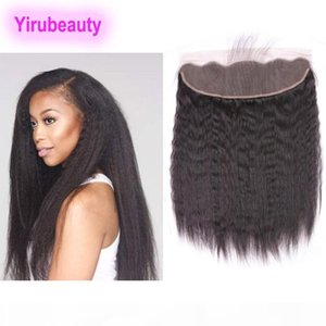 Indian Virgin Hair 9a Free Part Kinky Straight 13X4 Lace Frontal Human Hair Pre Plucked Kinky Straight Natural Black Yirubeauty