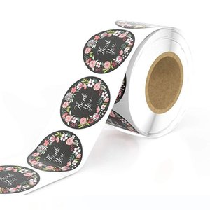 500pcs Roll Floral Thank You Stickers Wedding Decor Seal Label Tag Stickers Scrapbooking Handmade Craft Envelope Baking Gift Invitation Card