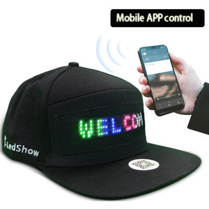 Fashion Luminous Scrolling Message Display Board LED Hip Hop Cap For Dance Party Mobile Phone APP Control Glowing Cap Gift