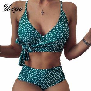 Uego 2020 Mujer Biquini Print Floral Push Up Women Swimwear Crop Top Bandage Sexy Bikini Set High Waist Lady Beachwear Swimsuit 1004