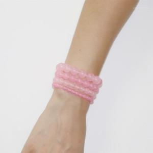 Charm Bracelets Reiki Natural Stone Healing Pink Crystal Round Beads Gifts For Women Bangle Wristband Yoga Jewelry 19cm B3631