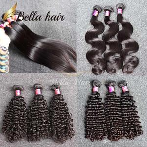 Bella Hair® 2 Bundles Brésil Virgin Hair Extensions de cheveux humains Weave bouclés vague profonde corps vague droite cheveux humains Livraison gratuite