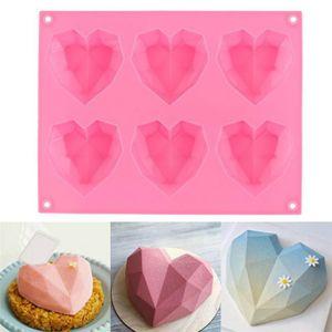 New Diamond Love Moldes de silicona en forma de corazón para Pasteles de esponja Mousse Postre de chocolate Mobakeware Molde de pastelería Regalo hecho a mano Regalo