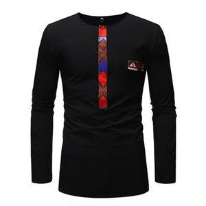 Baibazin New Africano Dashiki Homem Manga Longa T-shirt Fashion Printt África Homens Roupas Plus Size1