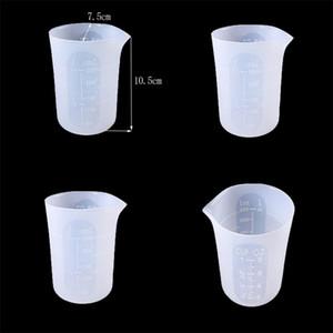 Silicone Diplômé de la tasse de mesure de la tasse de cristal de cristal Moule Make Tools Laver à compter sans poignée 250ml Mesurer Pot Accessoires 4 6ky N2