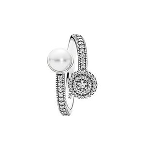 Juego de anillo de plata esterlina CZ Sterling Cz Diamante 925 de cristal blanco CZ Caja original para la boda de las niñas de las mujeres del anillo luminoso 6 K2