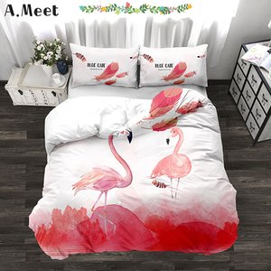 3d Flamingo Super King Size Bedding Luxury Bed Linen Pink Beding Set Sheet Printing Home Roupa De Cama Nevresim Takimlari