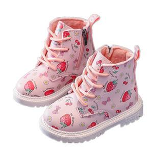 Kids Designer Boots neonate bambino caldi scarpe invernali con pelo molle interne bambino di moda fragola Chaussures pour enfants