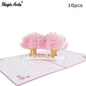 10 paquetes al por mayor de bosque cereza 3d Pop Up Tarjetas de las flores para el día de madres esposa cumpleaños consigue pronto la tarjeta de regalo de la condolencia sqcSim bbgargden