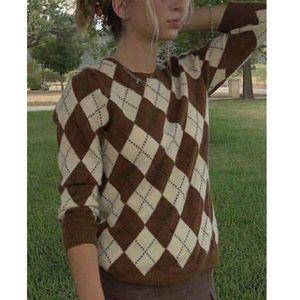 Foridol otoño invierno Argyle suéter tejido tirón femme estilo de la tela escocesa de Inglaterra jerseys de época puente marrón ocasional 2020