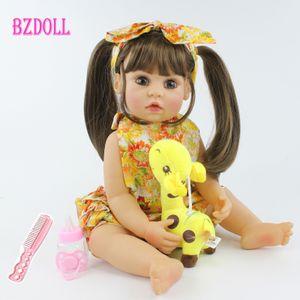 55cm Tüm Vücut Silikon Reborn Baby Doll Oyuncak Gerçekçi 22inch Vinil Alive Bebekler Giydirme Prenses Bebek Kız Doğum Hediye 201.021