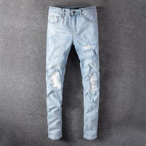 2020 Mens Jeans Hip Hop Pants Stylist Jeans Distressed Ripped Biker Jean Slim Fit Motorcycle New Arrivals Top Quality Brand men jeans