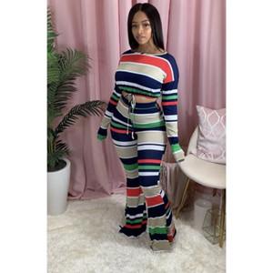 Mulheres Designers Roupa 2020 Two Piece Set cintura alta Top calças compridas de Inverno New do arco-íris listra impressos inicialização Cut Leggings Outfits Sportwear
