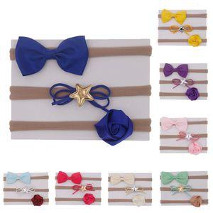 Fashion 3 Pcs Recém-nascido Grosgain Ribbon Bowknot Nylon Headbands Bebê Meninas Bow Headwear Crianças Acessórios De Cabelo