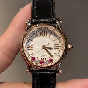 La nueva manera de calidad superior Mujer Diseño clásico Relojes Pulsera Señora Feliz Diamantes se divierte el reloj de cuero genuino Montres De Luxe Reloj
