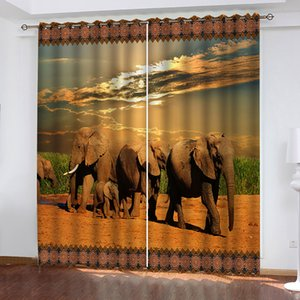 3D Curtain Custom Animals Under The Scorching Sun Curtain For Living Room Bedroom Blackout Window Curtain 3D