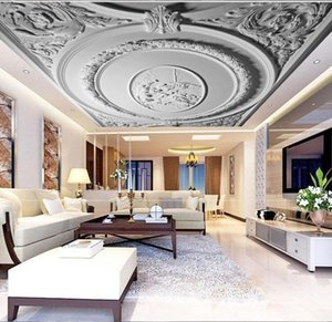 Custom White Plaster 3d Ceiling Wallpaper for Hall Living Room Hotel 3D Ceiling Murals European Wall paper Large Photo mural
