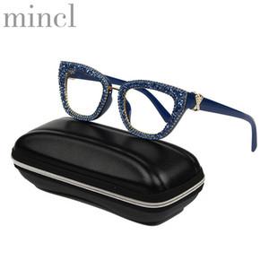 MINCL 2020 Vintage Katzen-Brillen Rahmen Retro weibliche Marke Designe blau Strass Sonnenbrille Transparent Brillen UV400 NX