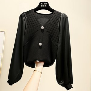 splicing top women's spring and autumn Korean new pin bead lantern long sleeve ol Pullover bottoming sweater for women 0929