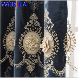 3D Embroidery Luxurious Curtains For Living Room Velvet Sheer Curtains Pearls Window Blinds Drape High End X-AD509#30