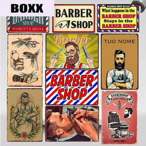 Shaves and Haircuts Barber Shop Metal Sign Vintage Men's Hairstyle Tattoos Plaques Classic Iron Painting Bar Decoration WY78