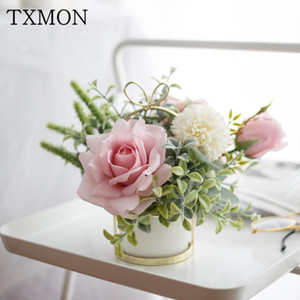 Nordic artificial silk flowers set(flower+vase) ceramic golden vase rose simulation plant potted home decoration fake flower pot