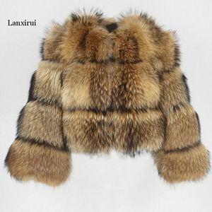 Зимняя куртка женщины большие пушистые искусственные меховые пальто поддельных енотных мех толщиной теплый верхняя одежда уличная одежда без съемного Vesto