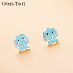 Uini-Tail hot new 925 sterling silver cute blue octopus baby earrings small fresh sweet romantic marine life ear jewelry ED531