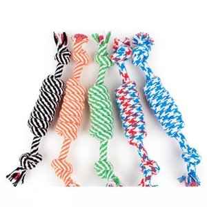 Dog Rope Fun Pet Chew Knot Toy Cotton Stripe Rope Dog Toy Durable High Quality Dog Accessories Drop DHL free