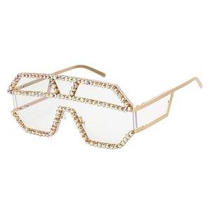 Siamese Style Rhinestone Sunglasses Ocean Piece Handmade Dot Diamond Fashion Sunglasses Trendy Personality Big Frame Sunglasses