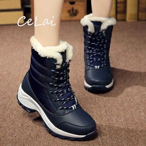 High-Cut Women Boots 2020 News Fashion Warm Fur Boots Platform Outdoor Elegant Winter Shoes Leisure Women's Mid Calf NA55