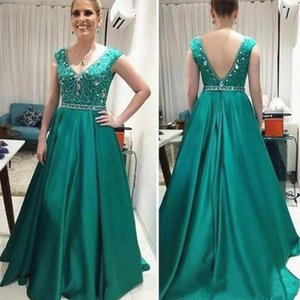 Teal Green Satin Mother of the Bride Dress Long Crystals Beading V Neck Sleeveless A Line Formal Wedding Party Gowns Custom Plus Size