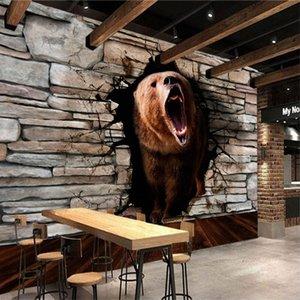 Пользовательские Любой Размер Настенная картина Обои Современная мода Медведь Pass Through The Wall Perspective наклейка YBZ097 zzQS #