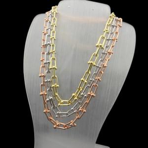 Новая цепь из нержавеющей стали 43см длинные ожерелья модные модные ультрамодные u формируют роскошный т ожерелье