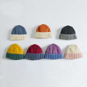 M291 New Autumn Winter Women's Knitted Hat Sweet Patchwork Color Warm Beanies Caps Lady Knitted Hat