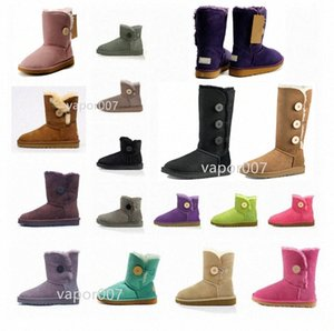 2021 Moda Mujeres Australian Mini Bailey II Classic Button Botones Snow Boots Short Womens Winter Keaves Shoes A9JK #