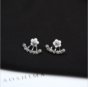 High quality Anti allergic Pure silver jewelry s 925 Sterling silver daisy flower front and back two sided stud earrings Ear nail ps1567