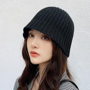 Autumn Warm Acrylic Knitted Bucket Hats Women Winter Fashion Basic Basin Hat Cap Casual Solid Fisherman Hats Streetwear
