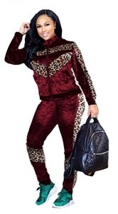 Fashion Panelled Designer Womens Tracksuits Leopard Printed Wmens Two Piece Set Cardigan High Collar Womens Clthing